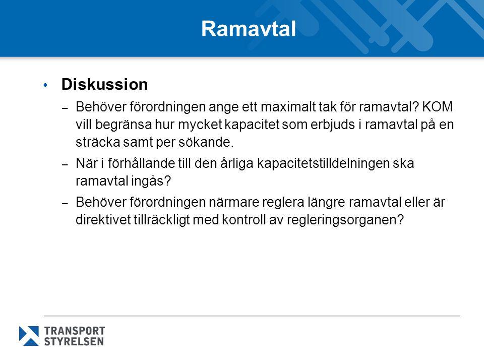 Ramavtal • Diskussion – Behöver förordningen ange ett maximalt tak för ramavtal.