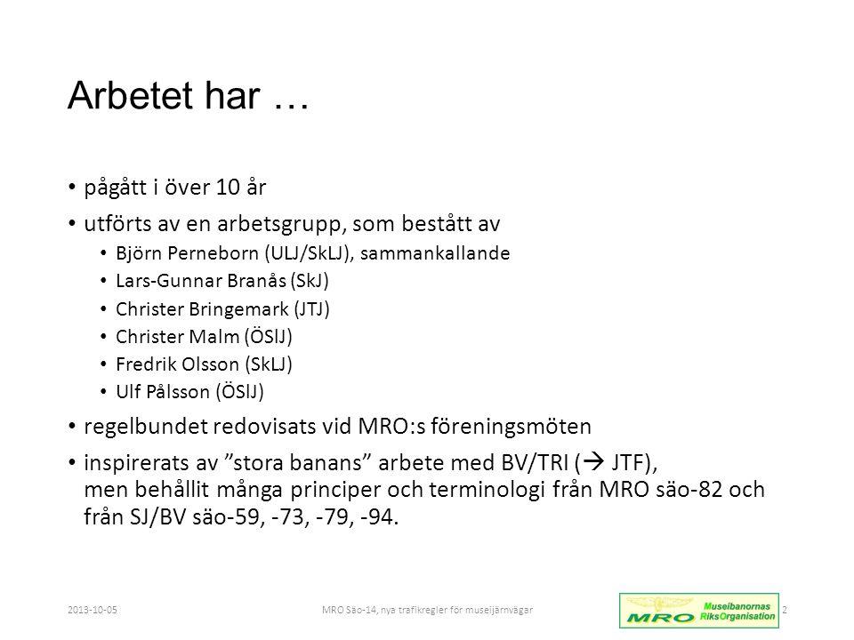 Arbetet har … • pågått i över 10 år • utförts av en arbetsgrupp, som bestått av • Björn Perneborn (ULJ/SkLJ), sammankallande • Lars-Gunnar Branås (SkJ) • Christer Bringemark (JTJ) • Christer Malm (ÖSlJ) • Fredrik Olsson (SkLJ) • Ulf Pålsson (ÖSlJ) • regelbundet redovisats vid MRO:s föreningsmöten • inspirerats av stora banans arbete med BV/TRI (  JTF), men behållit många principer och terminologi från MRO säo-82 och från SJ/BV säo-59, -73, -79, -94.