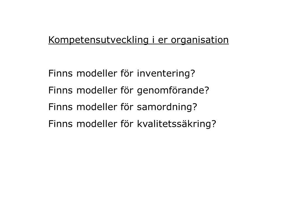 Kompetensutveckling i er organisation Finns modeller för inventering? Finns modeller för genomförande? Finns modeller för samordning? Finns modeller f