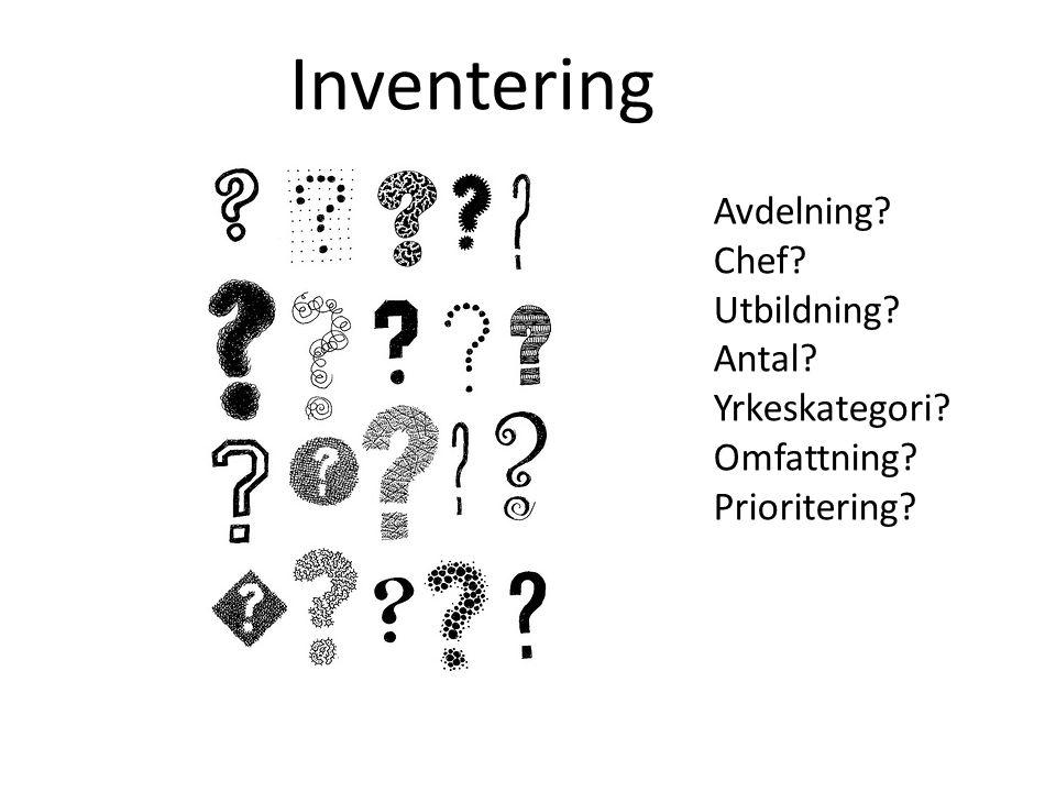 Inventering Avdelning? Chef? Utbildning? Antal? Yrkeskategori? Omfattning? Prioritering?