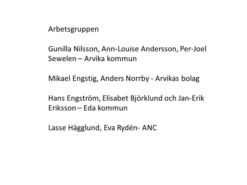 Arbetsgruppen Gunilla Nilsson, Ann-Louise Andersson, Per-Joel Sewelen – Arvika kommun Mikael Engstig, Anders Norrby - Arvikas bolag Hans Engström, Eli