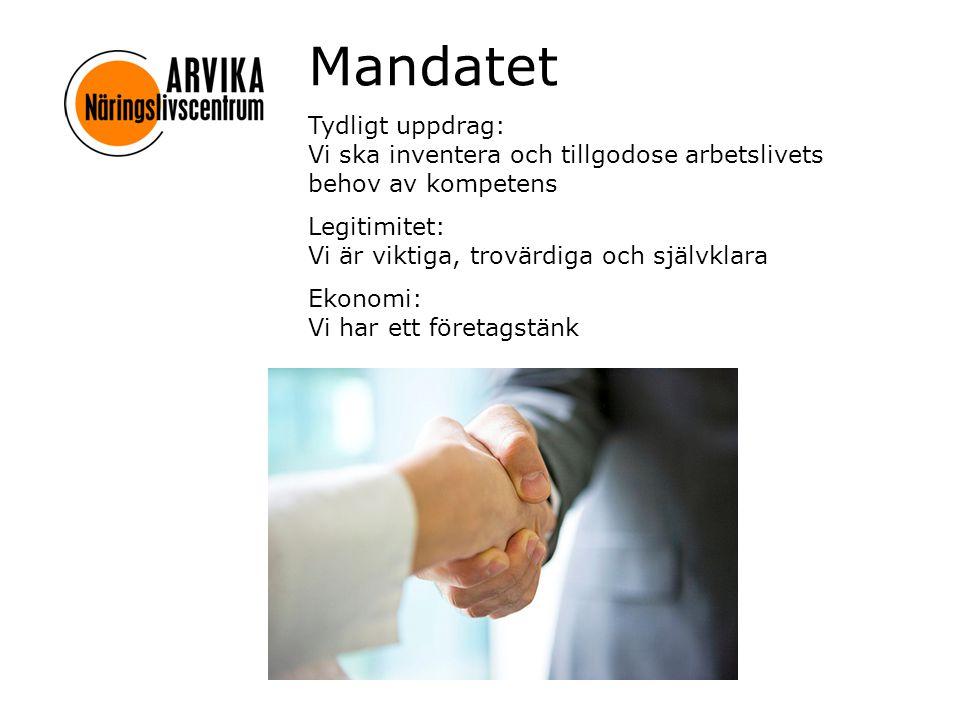 Mandatet Tydligt uppdrag: Vi ska inventera och tillgodose arbetslivets behov av kompetens Legitimitet: Vi är viktiga, trovärdiga och självklara Ekonomi: Vi har ett företagstänk