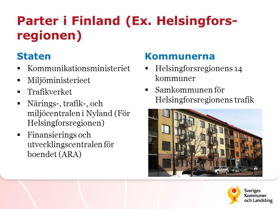 Parter i Finland (Ex. Helsingfors- regionen) Staten  Kommunikationsministeriet  Miljöministerieet  Trafikverket  Närings-, trafik-, och miljöcentr