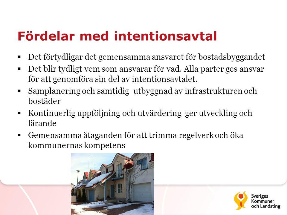 Fördelar med intentionsavtal  Det förtydligar det gemensamma ansvaret för bostadsbyggandet  Det blir tydligt vem som ansvarar för vad. Alla parter g