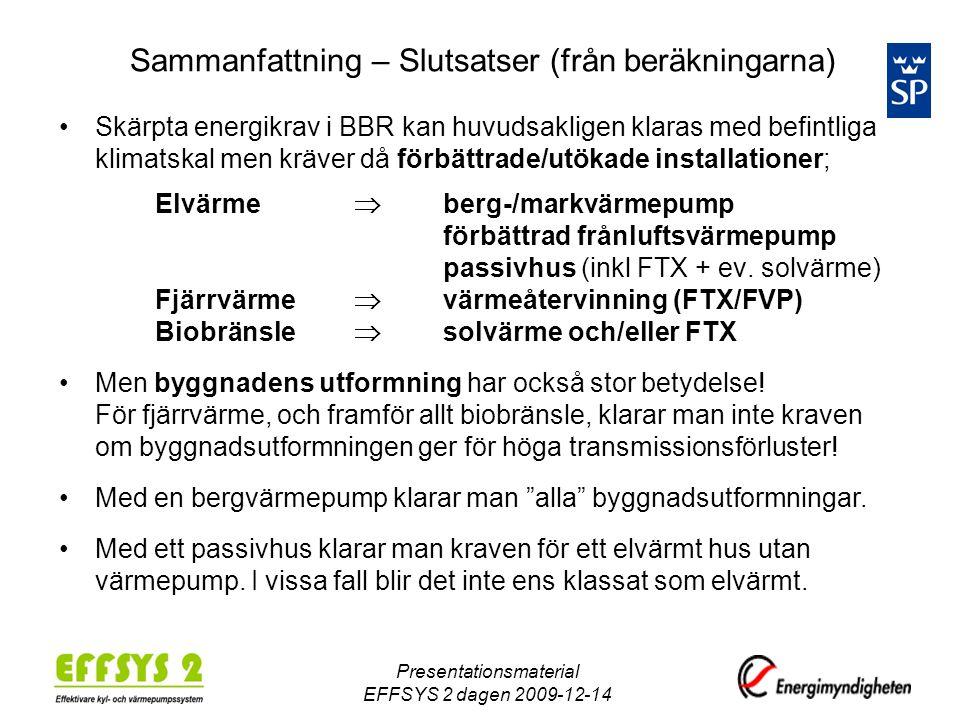 Sammanfattning – Slutsatser (från beräkningarna) •Skärpta energikrav i BBR kan huvudsakligen klaras med befintliga klimatskal men kräver då förbättrade/utökade installationer; Elvärme  berg-/markvärmepump förbättrad frånluftsvärmepump passivhus (inkl FTX + ev.