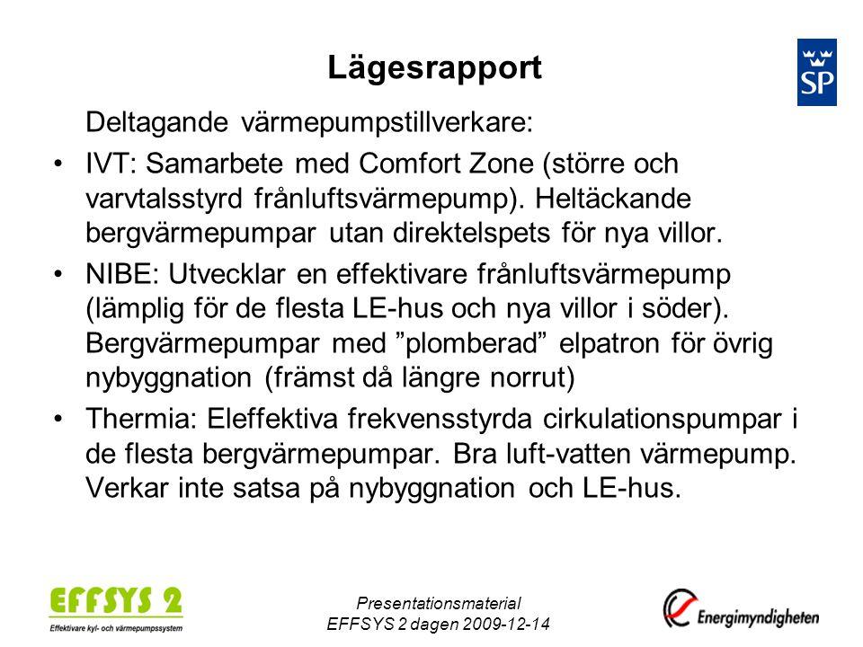 Lägesrapport Deltagande värmepumpstillverkare: •IVT: Samarbete med Comfort Zone (större och varvtalsstyrd frånluftsvärmepump).
