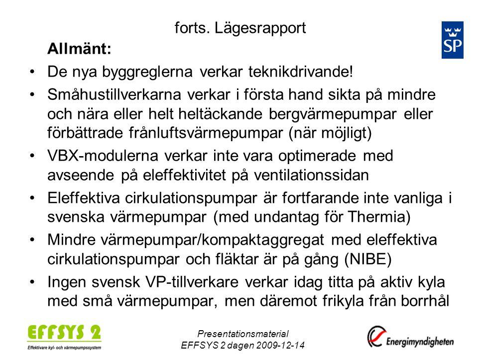Presentationsmaterial EFFSYS 2 dagen 2009-12-14 forts. Lägesrapport Allmänt: •De nya byggreglerna verkar teknikdrivande! •Småhustillverkarna verkar i