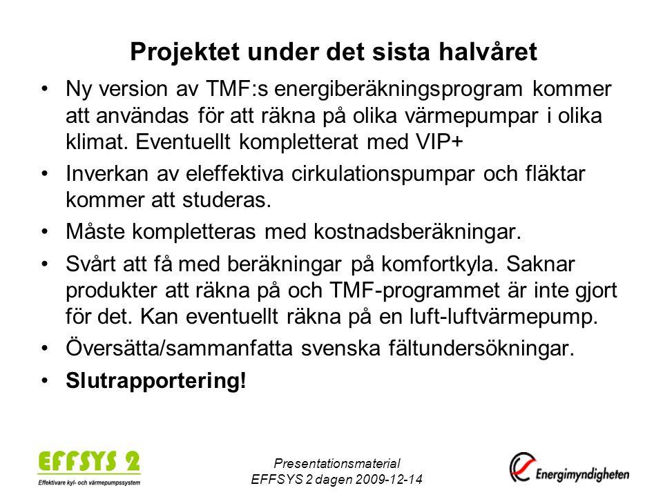 Presentationsmaterial EFFSYS 2 dagen 2009-12-14 Projektet under det sista halvåret •Ny version av TMF:s energiberäkningsprogram kommer att användas fö