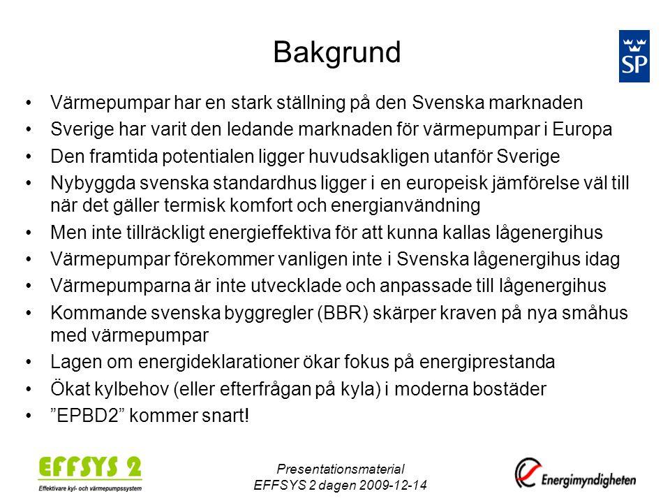 Presentationsmaterial EFFSYS 2 dagen 2009-12-14 Bakgrund •Värmepumpar har en stark ställning på den Svenska marknaden •Sverige har varit den ledande m