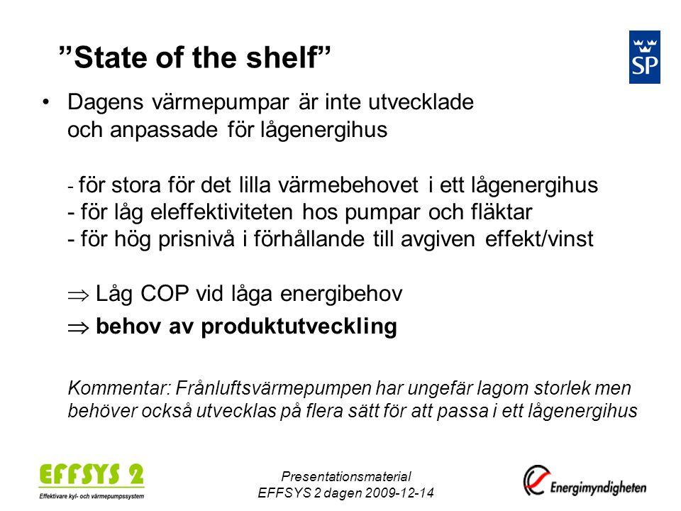 """Presentationsmaterial EFFSYS 2 dagen 2009-12-14 """"State of the shelf"""" •Dagens värmepumpar är inte utvecklade och anpassade för lågenergihus - för stora"""