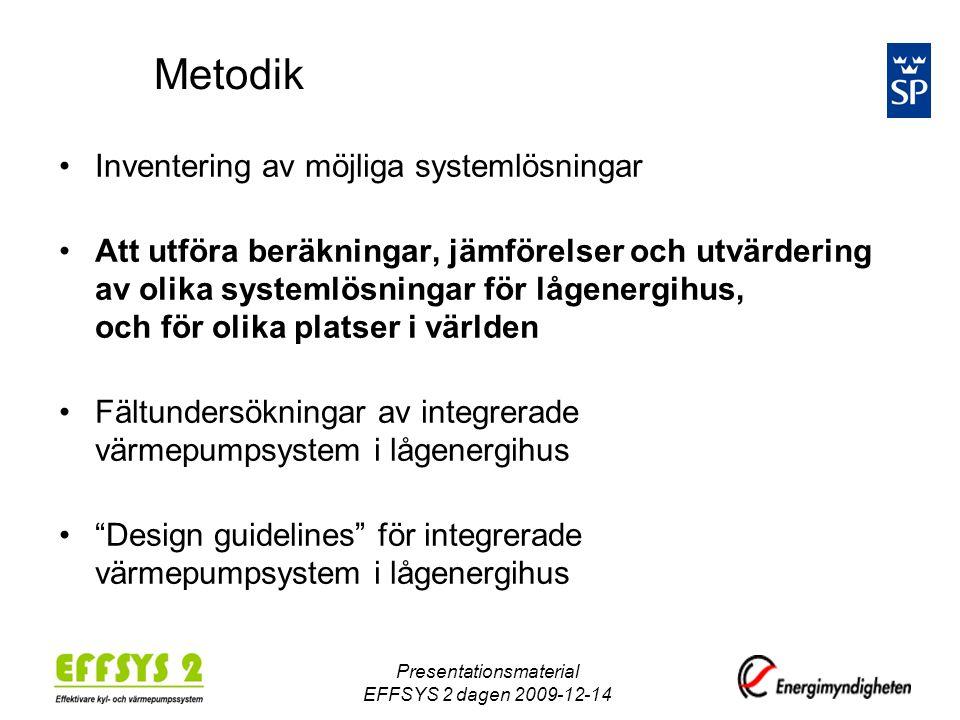 Presentationsmaterial EFFSYS 2 dagen 2009-12-14 Metodik •Inventering av möjliga systemlösningar •Att utföra beräkningar, jämförelser och utvärdering av olika systemlösningar för lågenergihus, och för olika platser i världen •Fältundersökningar av integrerade värmepumpsystem i lågenergihus • Design guidelines för integrerade värmepumpsystem i lågenergihus