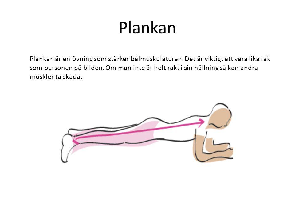 Plankan Plankan är en övning som stärker bålmuskulaturen. Det är viktigt att vara lika rak som personen på bilden. Om man inte är helt rakt i sin håll