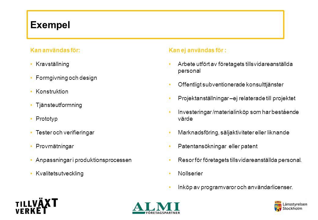 Exempel Kan användas för: •Kravställning •Formgivning och design •Konstruktion •Tjänsteutformning •Prototyp •Tester och verifieringar •Provmätningar •