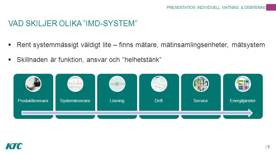 VAD SKILJER OLIKA IMD-SYSTEM  Rent systemmässigt väldigt lite – finns mätare, mätinsamlingsenheter, mätsystem  Skillnaden är funktion, ansvar och helhetstänk | 5 PRESENTATION INDIVIDUELL MÄTNING & DEBITERING ProduktleveransSystemleveransLösningDriftServiceEnergitjänster