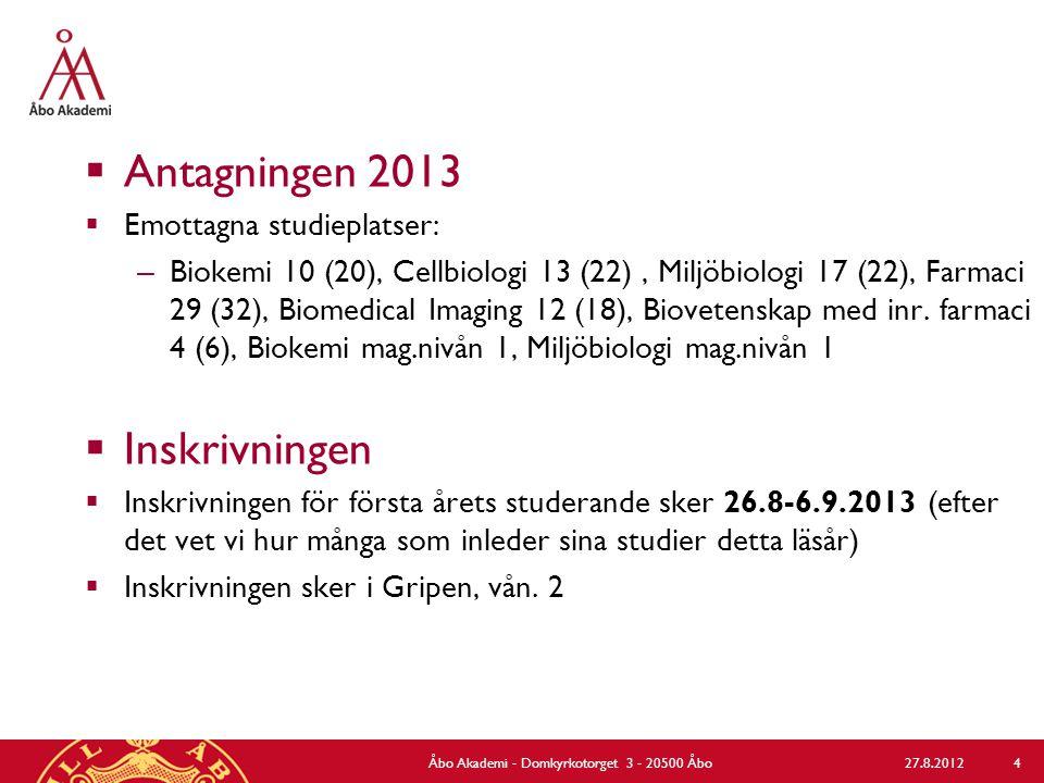  Antagningen 2013  Emottagna studieplatser: – Biokemi 10 (20), Cellbiologi 13 (22), Miljöbiologi 17 (22), Farmaci 29 (32), Biomedical Imaging 12 (18), Biovetenskap med inr.