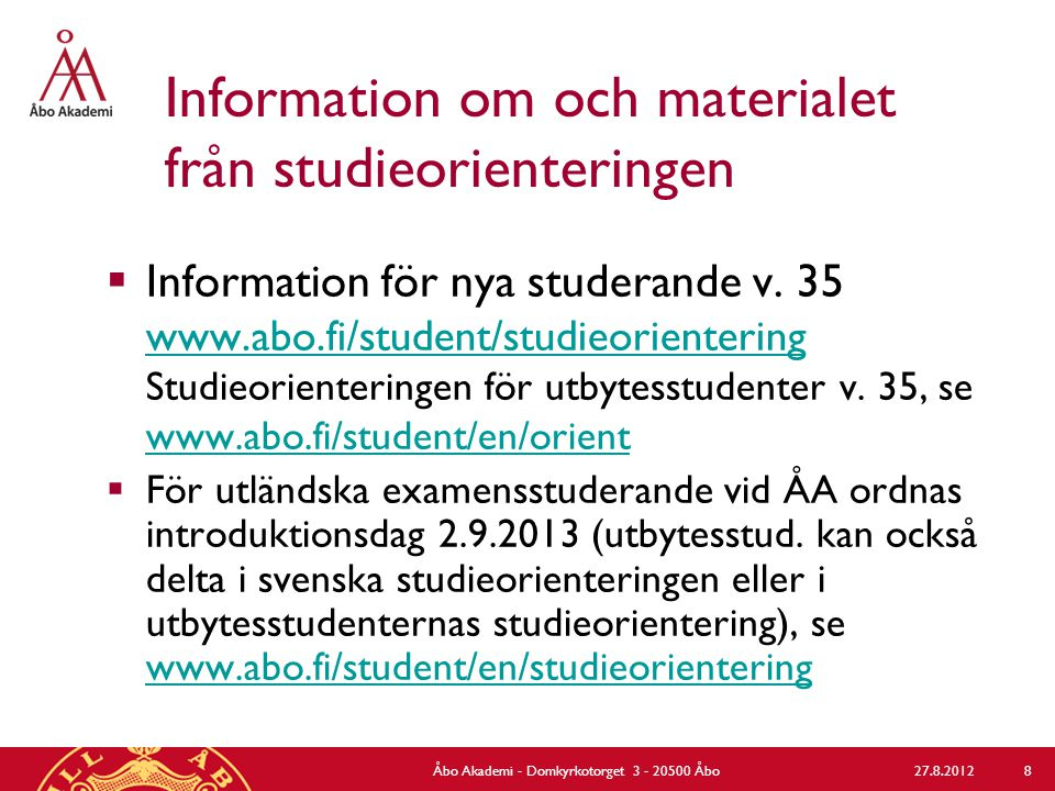 MinPlan-handledning för åk 1/  Presentation av MinPlan under studieorienteringen torsdag 29.8 kl.