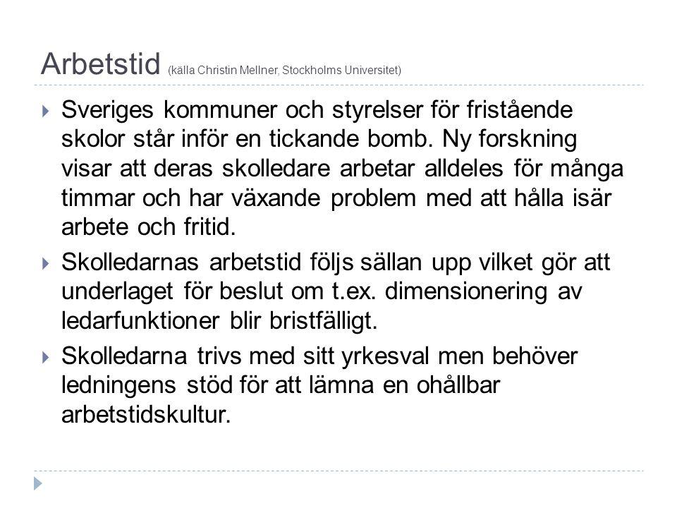 Arbetstid (källa Christin Mellner, Stockholms Universitet)  En skolledare i Sverige har 6 dagars arbetsvecka.