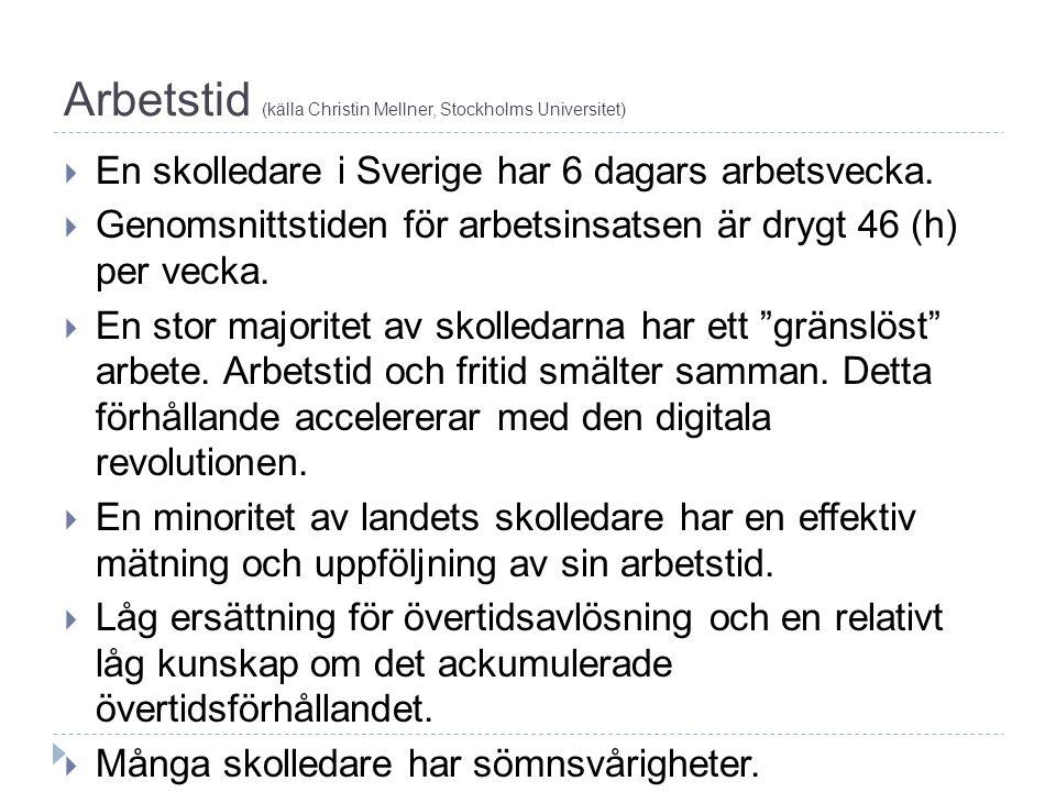 Arbetstid (källa Christin Mellner, Stockholms Universitet)  En skolledare i Sverige har 6 dagars arbetsvecka.  Genomsnittstiden för arbetsinsatsen ä