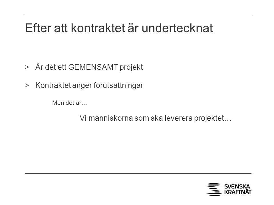 Efter att kontraktet är undertecknat >Är det ett GEMENSAMT projekt >Kontraktet anger förutsättningar Men det är… Vi människorna som ska leverera projektet…