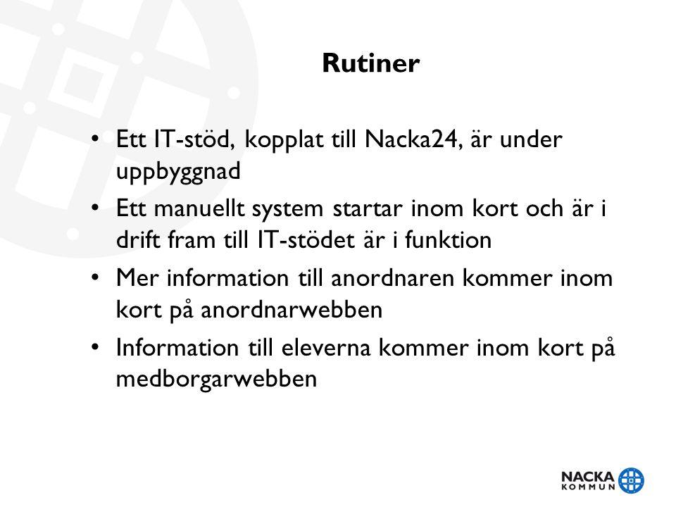 Rutiner • Ett IT-stöd, kopplat till Nacka24, är under uppbyggnad • Ett manuellt system startar inom kort och är i drift fram till IT-stödet är i funkt