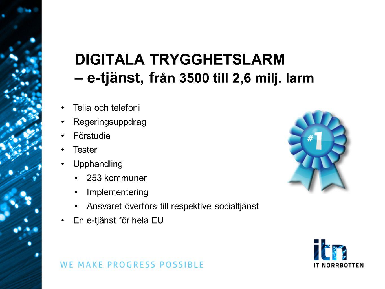 DIGITALA TRYGGHETSLARM – e-tjänst, f rån 3500 till 2,6 milj. larm •Telia och telefoni •Regeringsuppdrag •Förstudie •Tester •Upphandling •253 kommuner