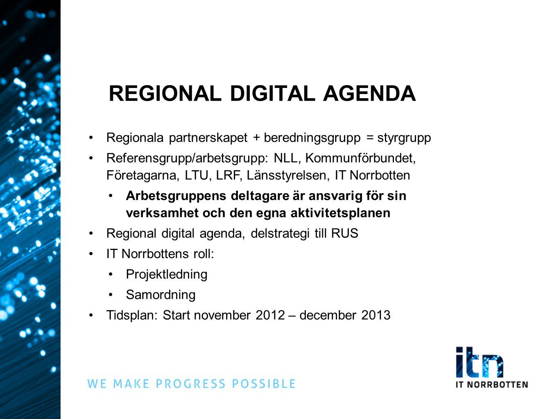 REGIONAL DIGITAL AGENDA •Regionala partnerskapet + beredningsgrupp = styrgrupp •Referensgrupp/arbetsgrupp: NLL, Kommunförbundet, Företagarna, LTU, LRF