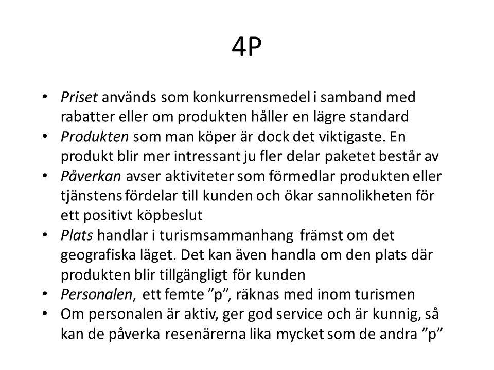 4P • Priset används som konkurrensmedel i samband med rabatter eller om produkten håller en lägre standard • Produkten som man köper är dock det vikti