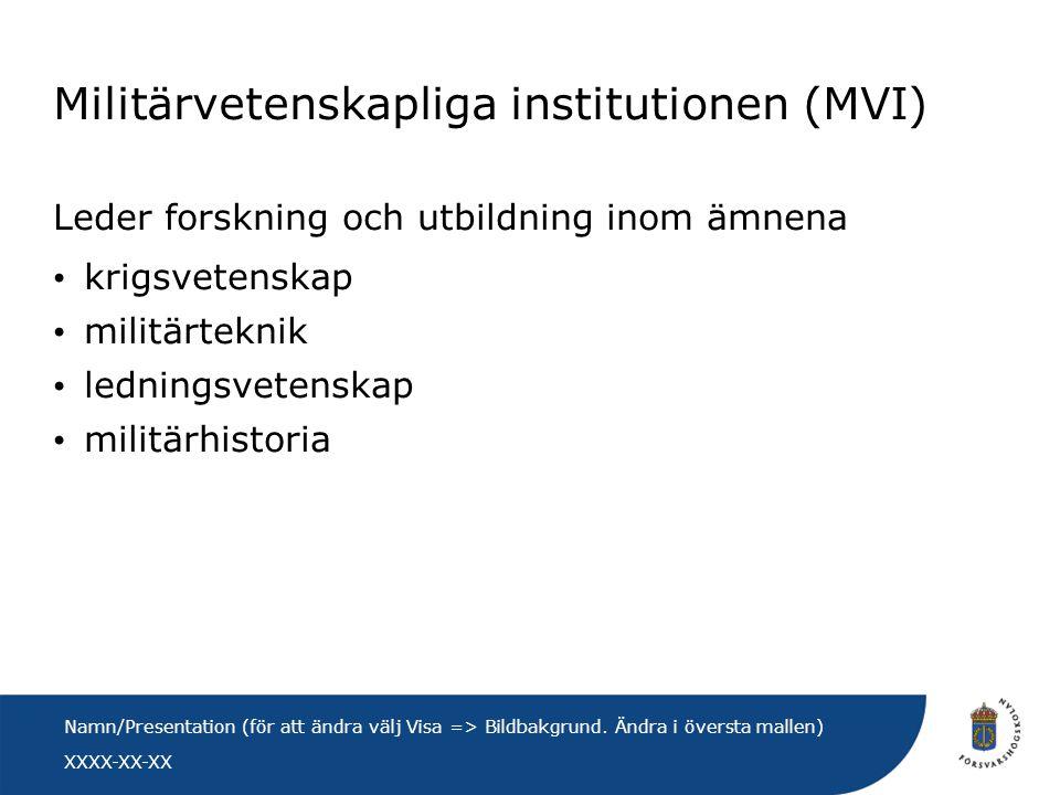 XXXX-XX-XX Namn/Presentation (för att ändra välj Visa => Bildbakgrund. Ändra i översta mallen) Militärvetenskapliga institutionen (MVI) Leder forsknin