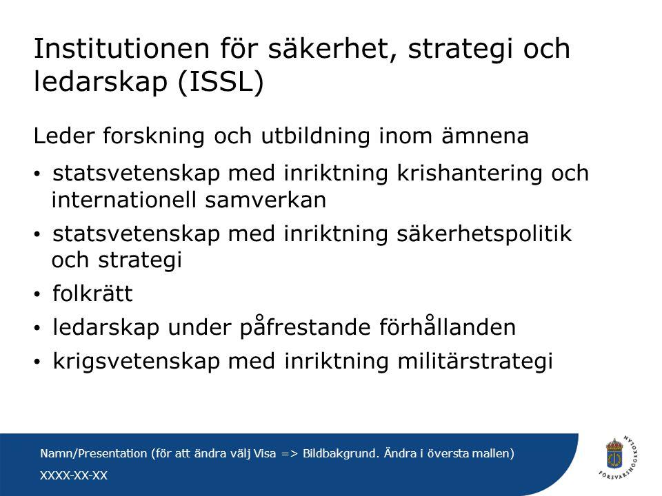 XXXX-XX-XX Namn/Presentation (för att ändra välj Visa => Bildbakgrund. Ändra i översta mallen) Institutionen för säkerhet, strategi och ledarskap (ISS