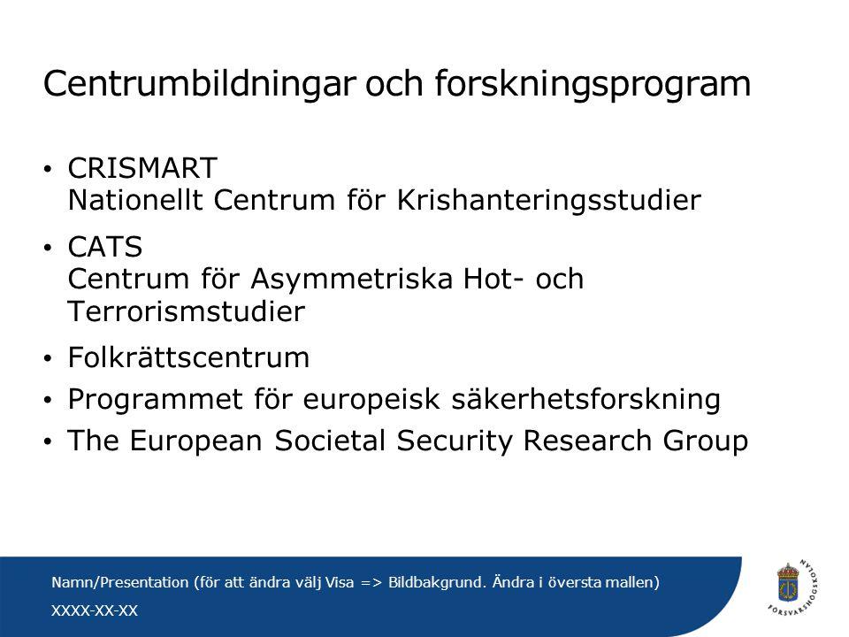 XXXX-XX-XX Namn/Presentation (för att ändra välj Visa => Bildbakgrund. Ändra i översta mallen) Centrumbildningar och forskningsprogram • CRISMART Nati