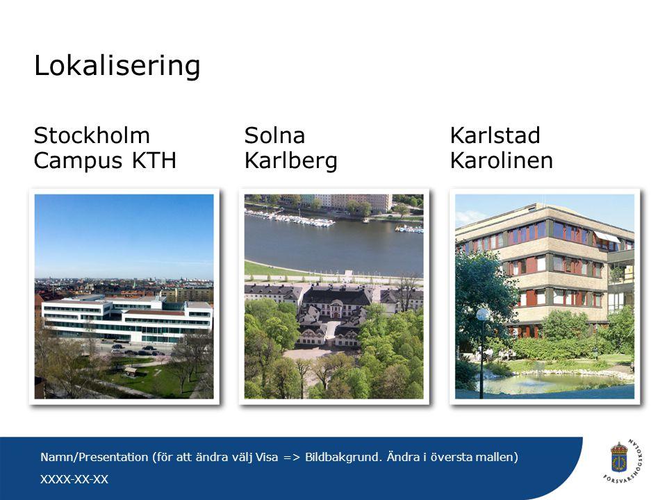 XXXX-XX-XX Namn/Presentation (för att ändra välj Visa => Bildbakgrund. Ändra i översta mallen) Karlstad Karolinen Solna Karlberg Stockholm Campus KTH