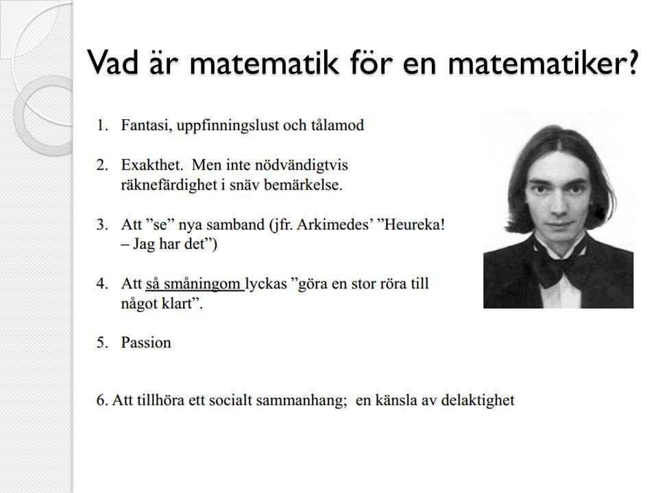 Vad är matematik för en matematiker?