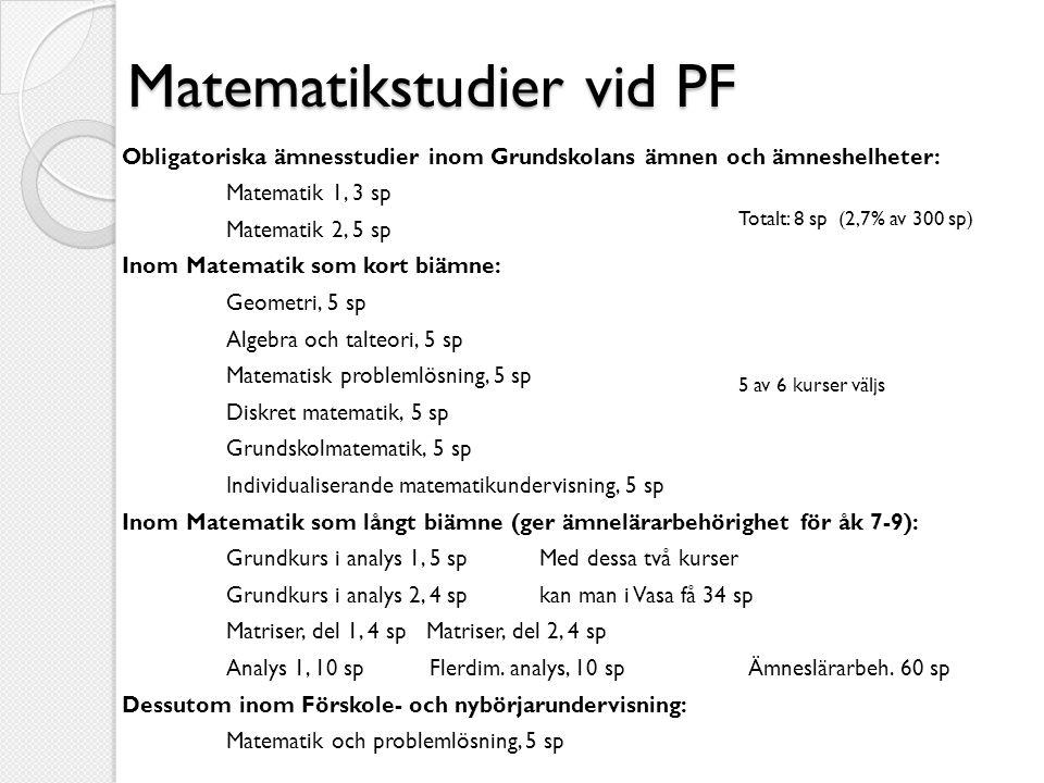 Matematikstudier vid PF Obligatoriska ämnesstudier inom Grundskolans ämnen och ämneshelheter: Matematik 1, 3 sp Matematik 2, 5 sp Inom Matematik som k