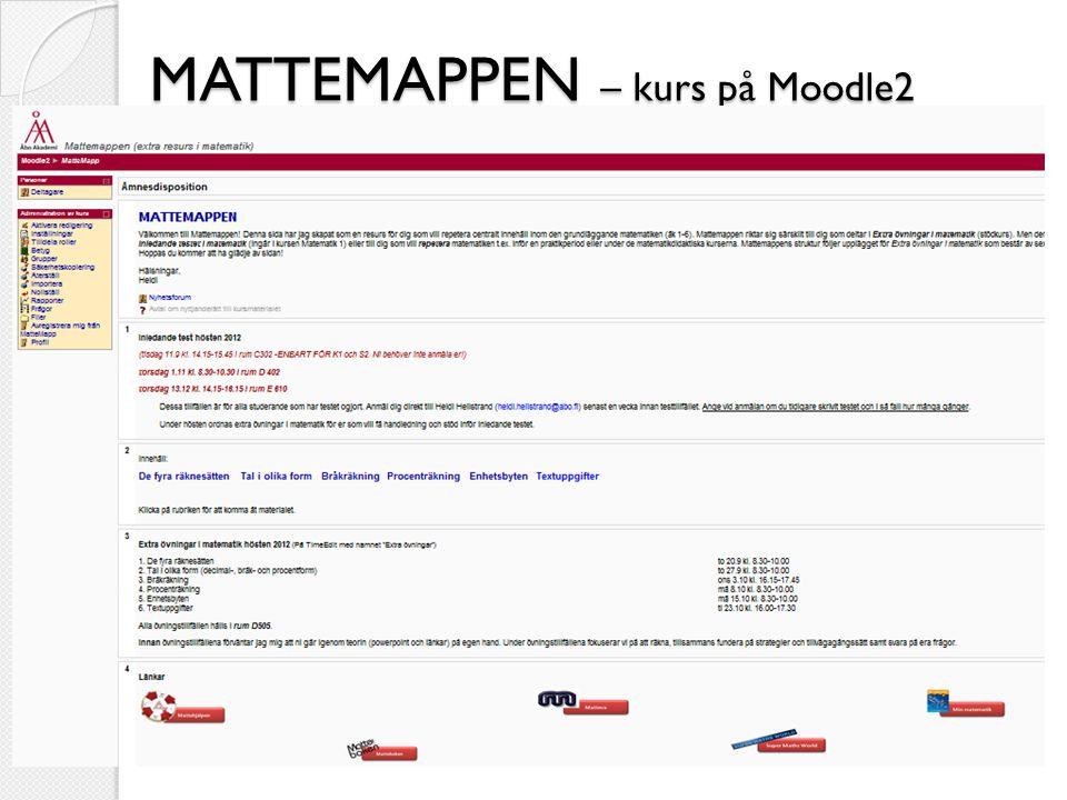 MATTEMAPPEN – kurs på Moodle2