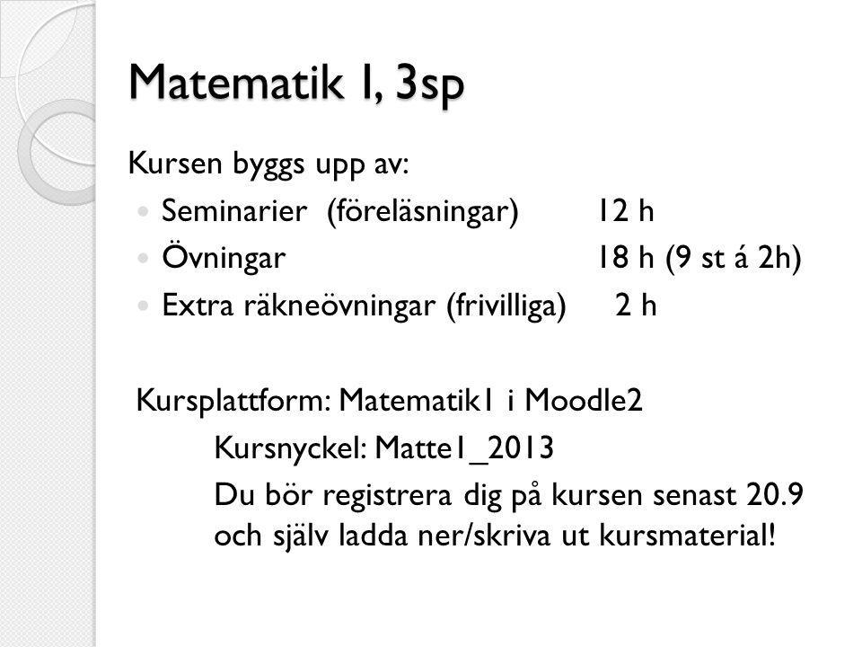 Matematik I, 3sp Kursen byggs upp av:  Seminarier (föreläsningar) 12 h  Övningar 18 h (9 st á 2h)  Extra räkneövningar (frivilliga) 2 h Kursplattfo