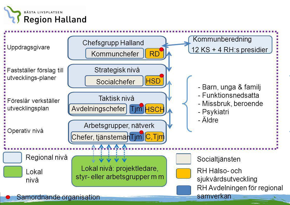 Kommunberedning Chefsgrupp Halland Uppdragsgivare Strategisk nivå Taktisk nivå - Barn, unga & familj - Funktionsnedsatta - Missbruk, beroende - Psykia