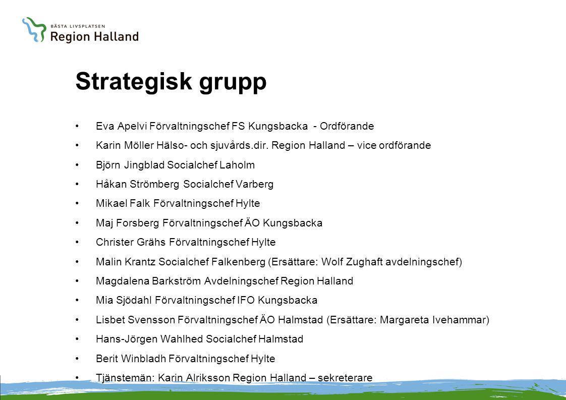 Strategisk grupp •Eva Apelvi Förvaltningschef FS Kungsbacka - Ordförande •Karin Möller Hälso- och sjuvårds.dir. Region Halland – vice ordförande •Björ
