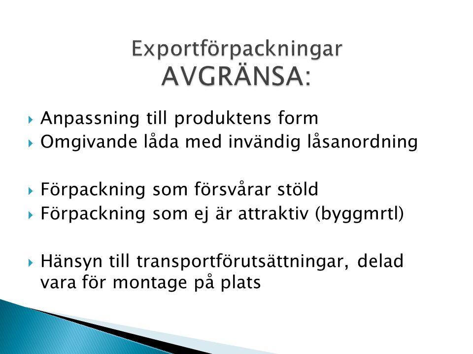  Anpassning till produktens form  Omgivande låda med invändig låsanordning  Förpackning som försvårar stöld  Förpackning som ej är attraktiv (bygg