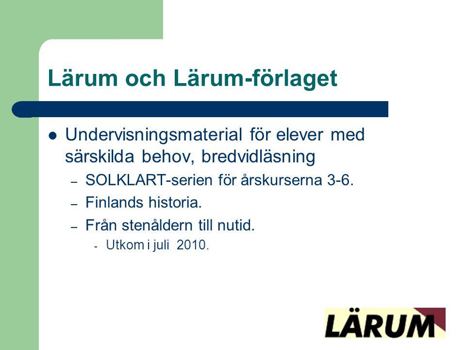 Lärum och Lärum-förlaget  Undervisningsmaterial för elever med särskilda behov, bredvidläsning – SOLKLART-serien för årskurserna 3-6. – Finlands hist