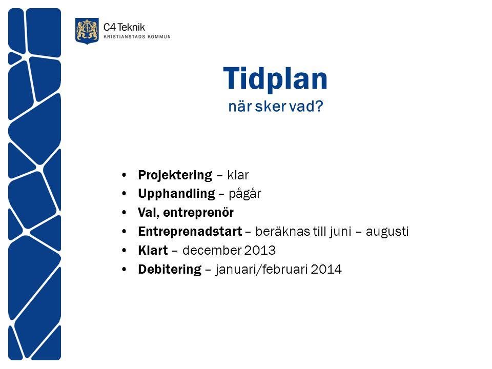 Tidplan när sker vad? •Projektering – klar •Upphandling – pågår •Val, entreprenör •Entreprenadstart – beräknas till juni – augusti •Klart – december 2
