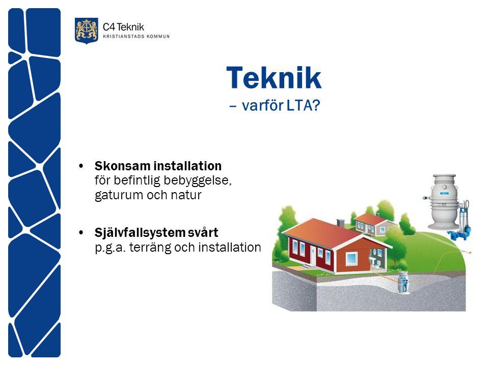 Teknik – varför LTA? •Skonsam installation för befintlig bebyggelse, gaturum och natur •Självfallsystem svårt p.g.a. terräng och installation