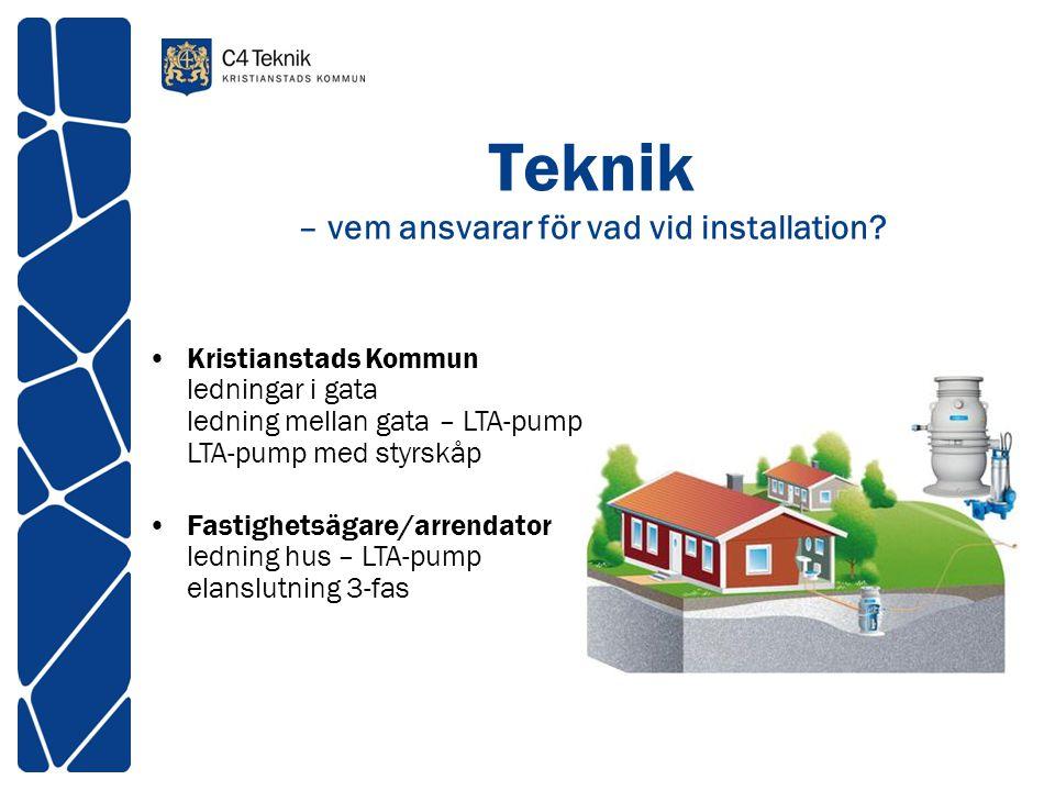 Teknik – vem ansvarar för vad vid installation? •Kristianstads Kommun ledningar i gata ledning mellan gata – LTA-pump LTA-pump med styrskåp •Fastighet