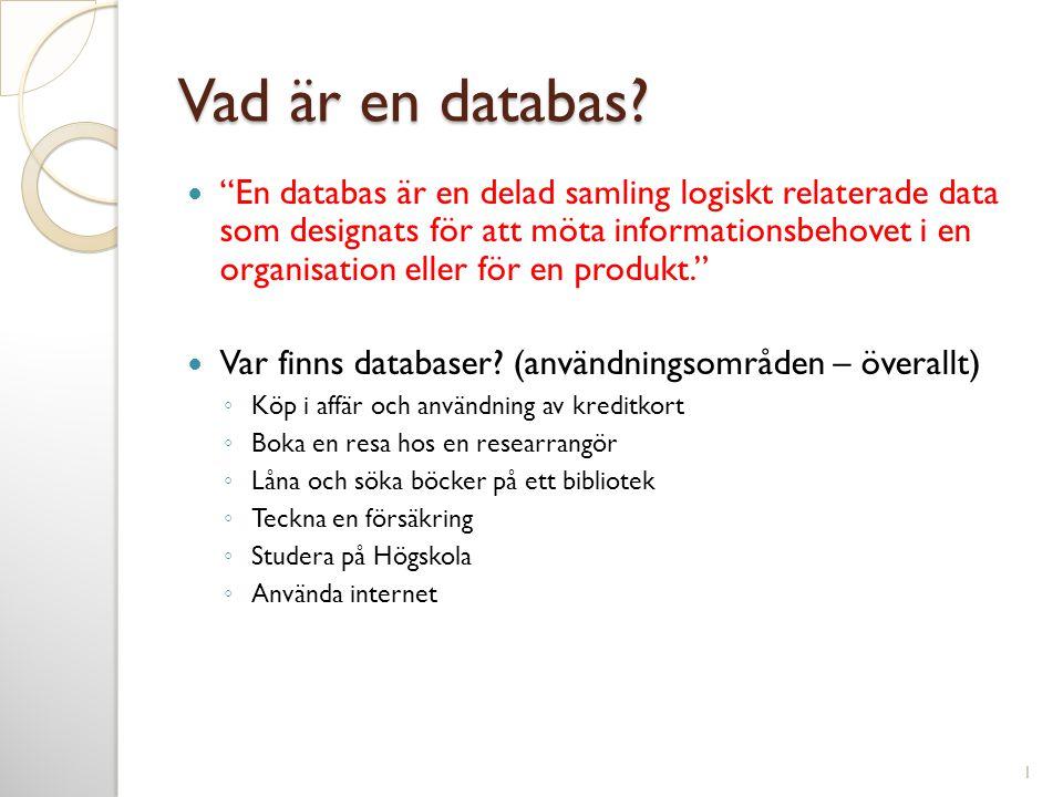 """Vad är en databas?  """"En databas är en delad samling logiskt relaterade data som designats för att möta informationsbehovet i en organisation eller fö"""