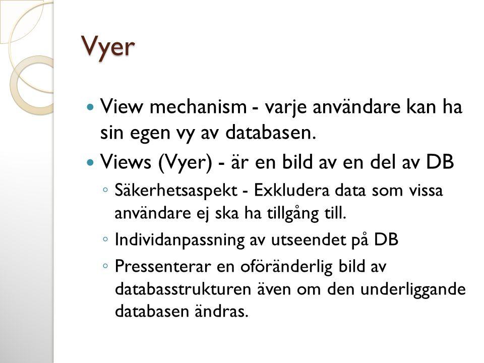 Vyer  View mechanism - varje användare kan ha sin egen vy av databasen.  Views (Vyer) - är en bild av en del av DB ◦ Säkerhetsaspekt - Exkludera dat