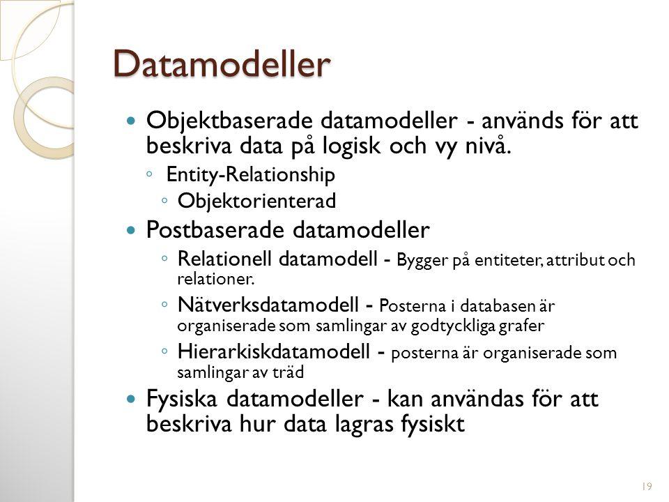 Datamodeller  Objektbaserade datamodeller - används för att beskriva data på logisk och vy nivå. ◦ Entity-Relationship ◦ Objektorienterad  Postbaser