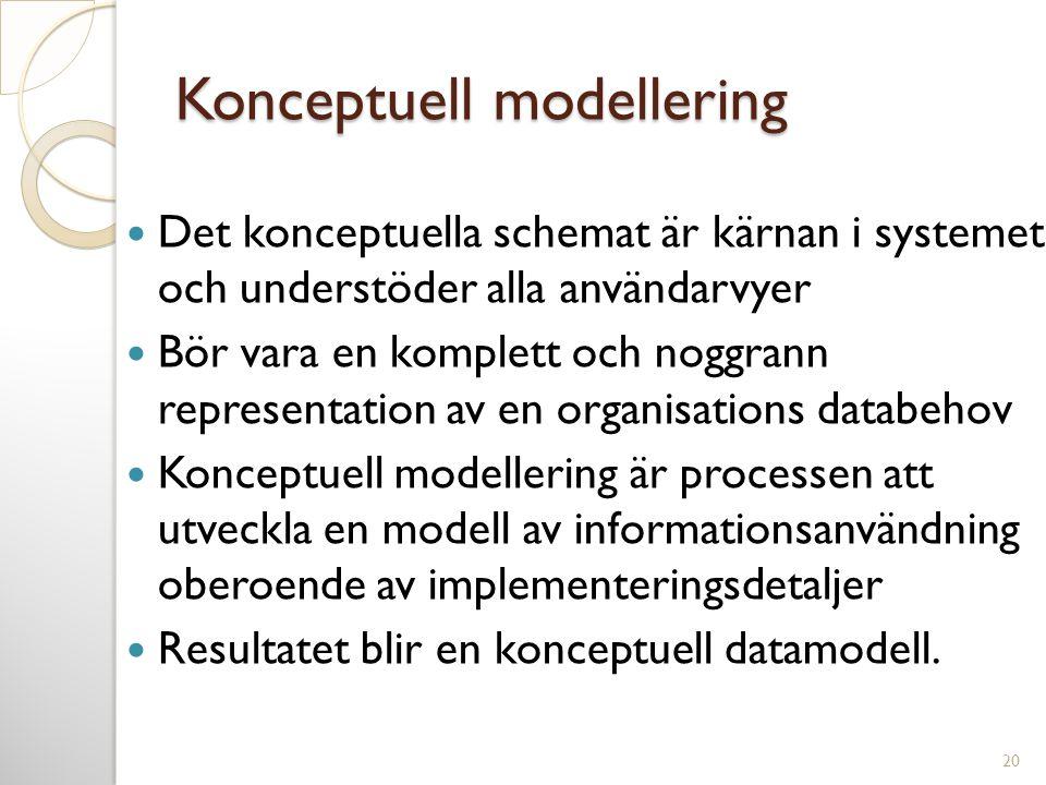 Konceptuell modellering  Det konceptuella schemat är kärnan i systemet och understöder alla användarvyer  Bör vara en komplett och noggrann represen