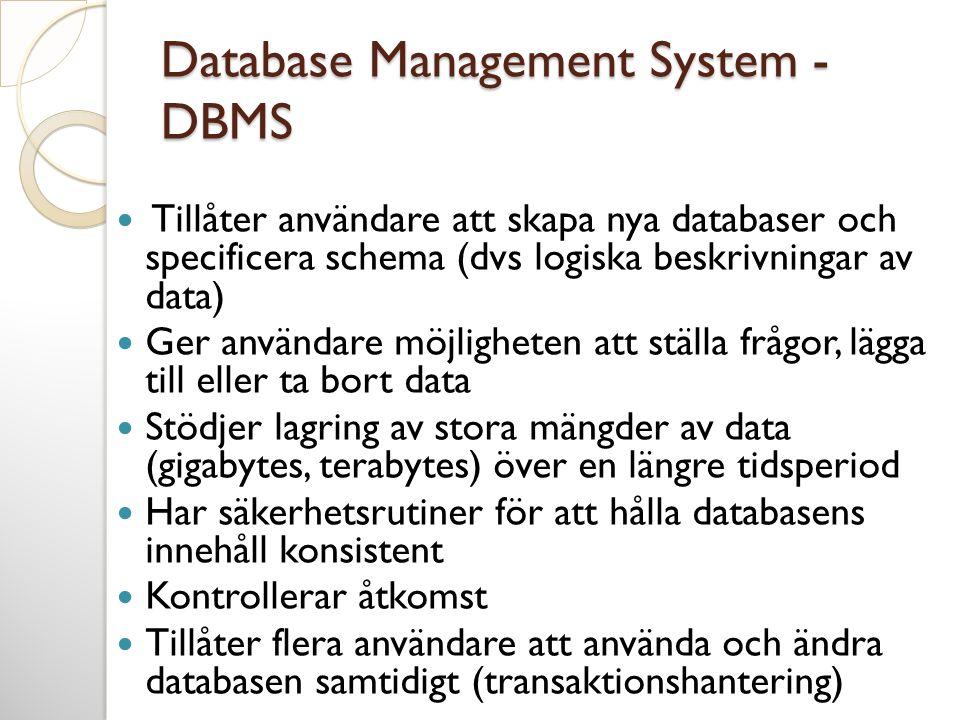Database Management System - DBMS  Tillåter användare att skapa nya databaser och specificera schema (dvs logiska beskrivningar av data)  Ger använd