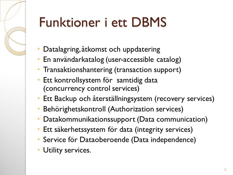 Funktioner i ett DBMS  Datalagring, åtkomst och uppdatering  En användarkatalog (user-accessible catalog)  Transaktionshantering (transaction suppo