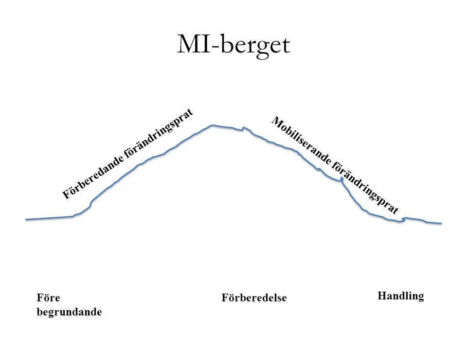 MI-berget Förberedande förändringsprat Mobiliserande förändringsprat Före begrundande Förberedelse Handling