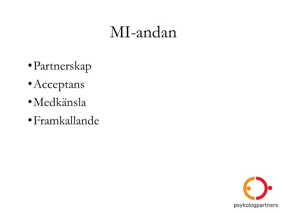 MI-andan •Partnerskap •Acceptans •Medkänsla •Framkallande